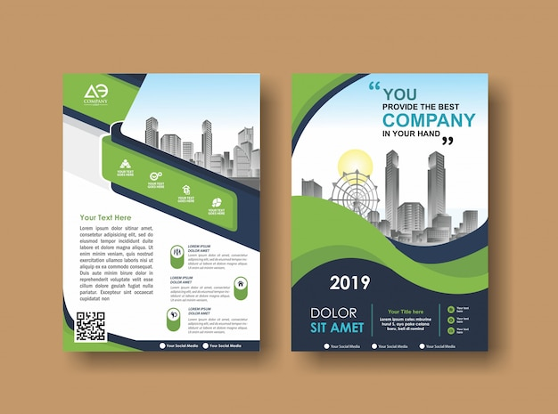 Cover layout brochure flyer for event and report Vector Premium