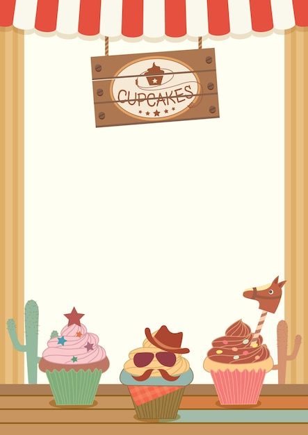 Cowboy cupcakes party menu template for vertical Vector Premium