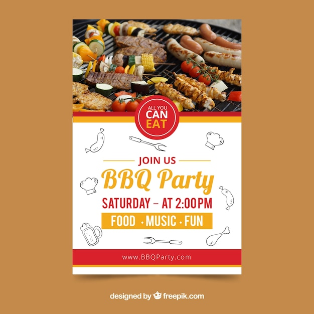 Creative bbq invitation template Vector Free Download