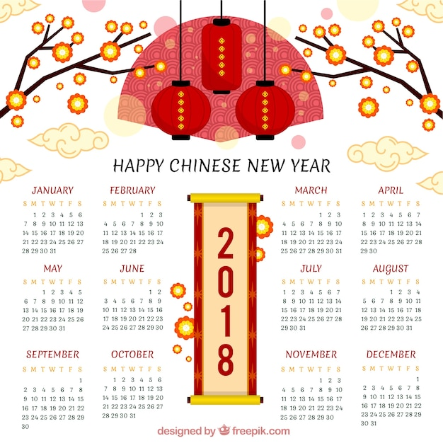Creative chinese new year calendar Vector Free Download