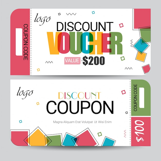 Creative discount voucher, gift card or coupon template layout