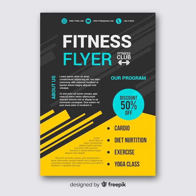 Creative fitness flyer template design Vector Free Download