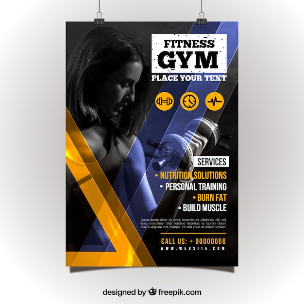 Creative gym flyer template Vector Free Download