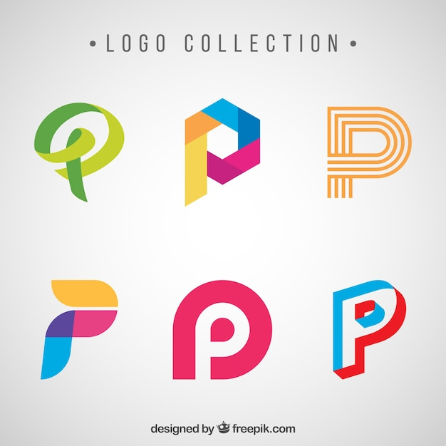 Creative logos of letter \ - p & l template