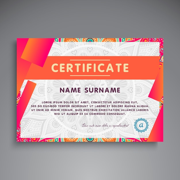 Creative modern ethnic certificate template Vector Free Download