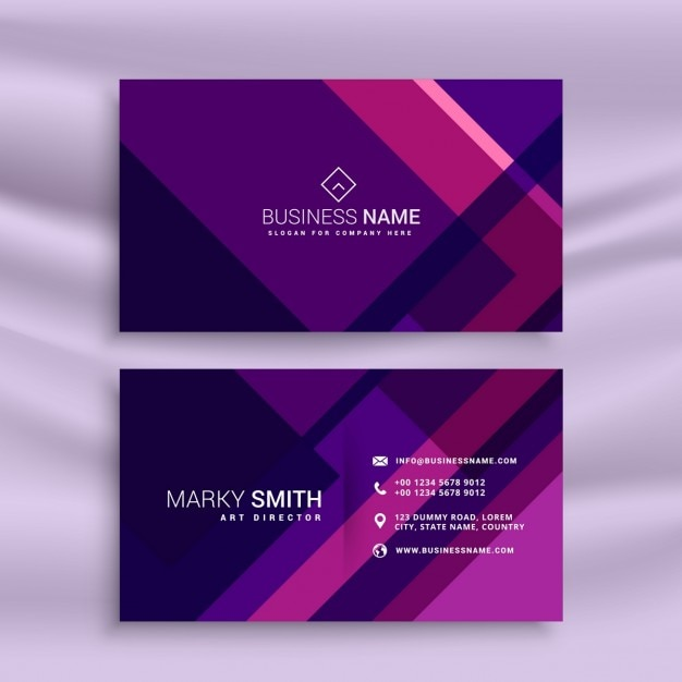 Creative purple business card in abstract style Vector Free Download