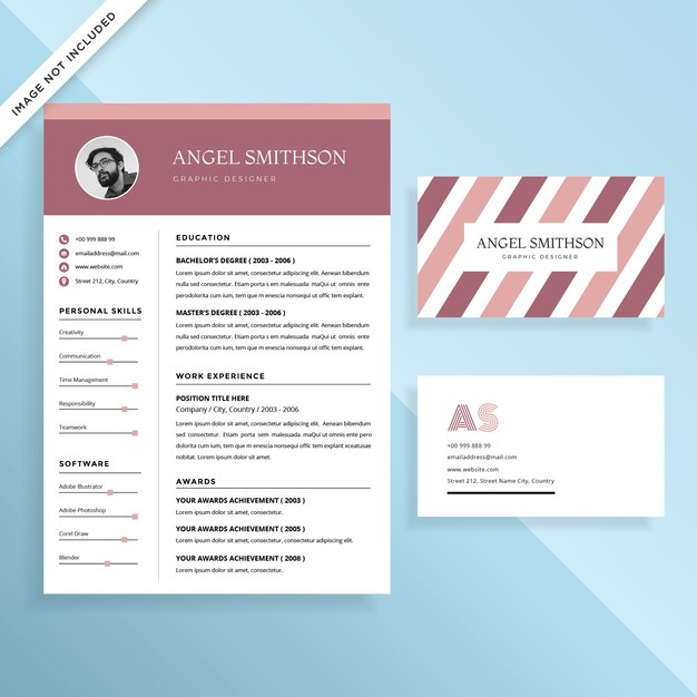 Creative Resume CV and Business Card Template Design Set Vector - business card resume