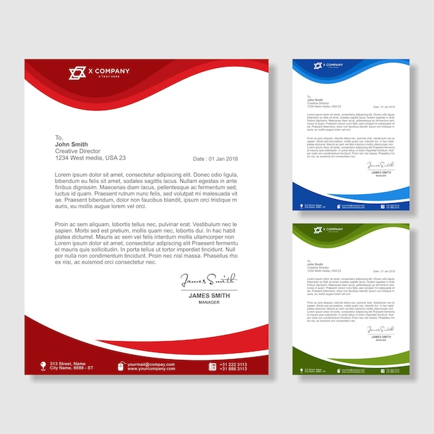 Creative wave shape letterhead design template for business Vector