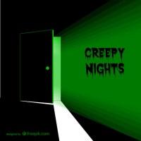 Creepy door with green light Vector
