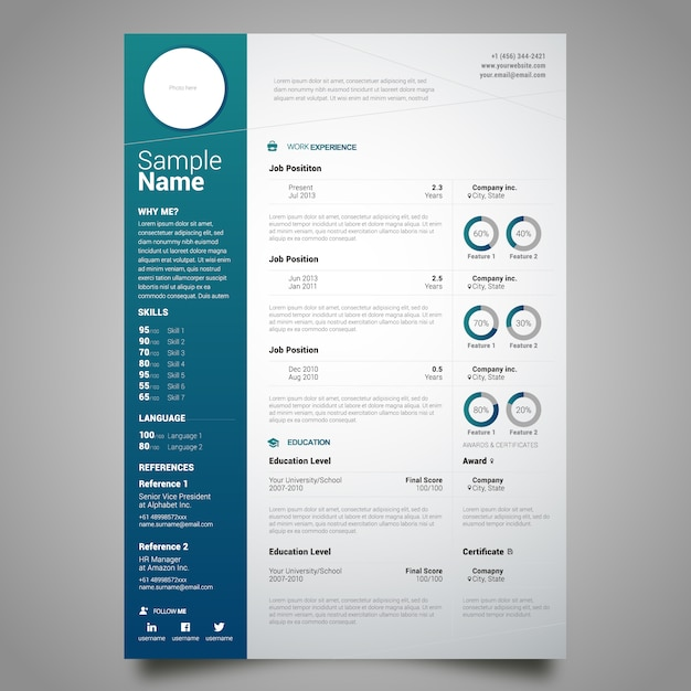 cv template free download freepik