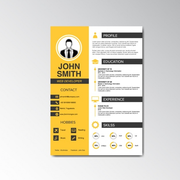 Curriculum vitae design Vector Free Download