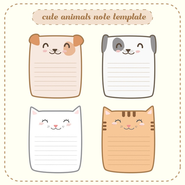 Cute adorable happy animals note template label paper card Vector