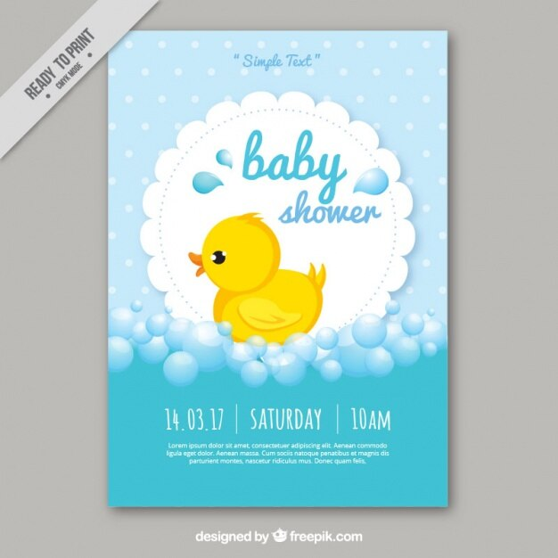 Cute baby shower card template Vector Free Download