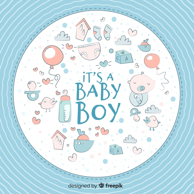 Cute baby shower template for boy Vector Free Download