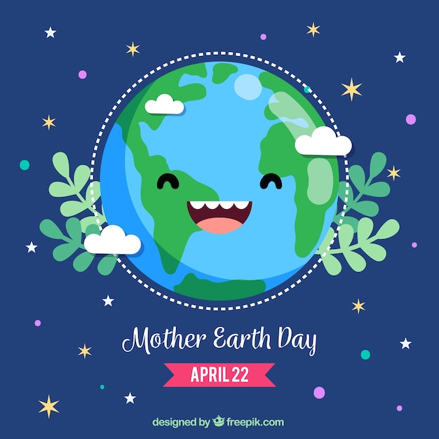 Cute background for mother earth day Vector Free Download