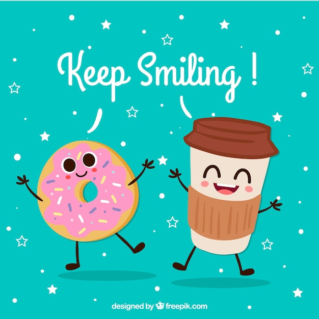 Starbucks Wallpaper Cute Cute Background Of Happy Drink And Donut Characters Vector