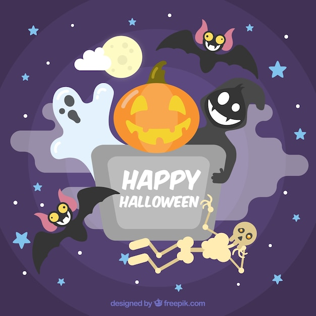 Cute background of happy halloween Vector Free Download