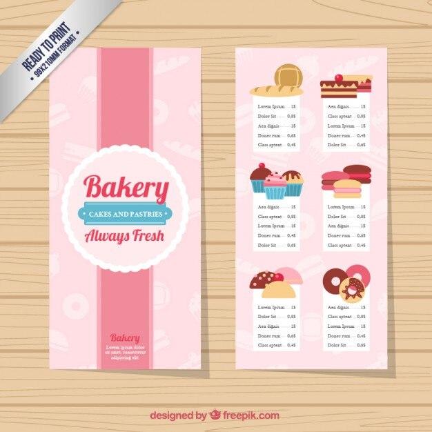 Sample Bakery Menu Template Bakery Menu Template Premium Vector - sample menu template