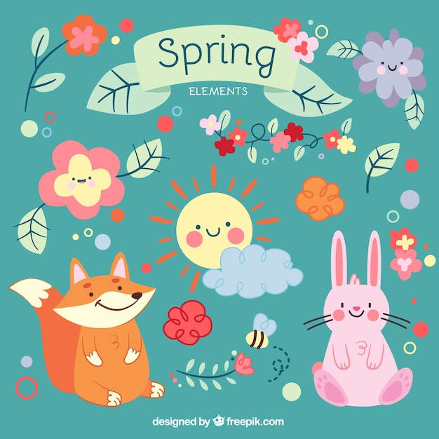 Cute cartoon animals and spring elements Vector Premium Download