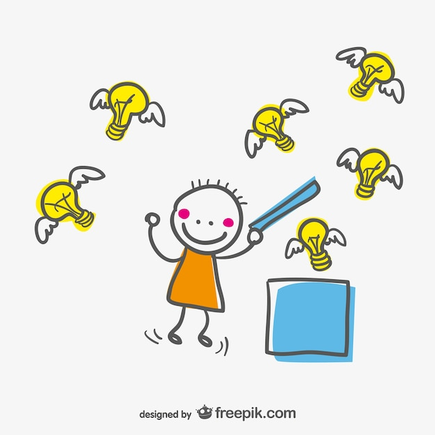 Cute character opening a box and setting the ideas free Vector