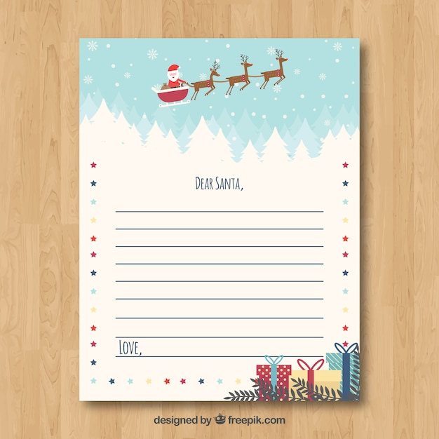 Cute christmas letter template Vector Free Download