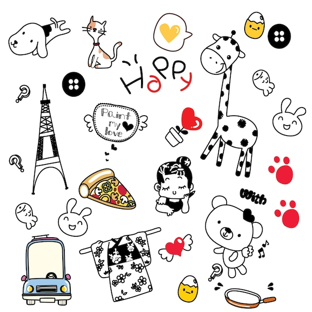 Sweet And Cute Wallpaper Cute Doodles Stuff Vector Premium Download