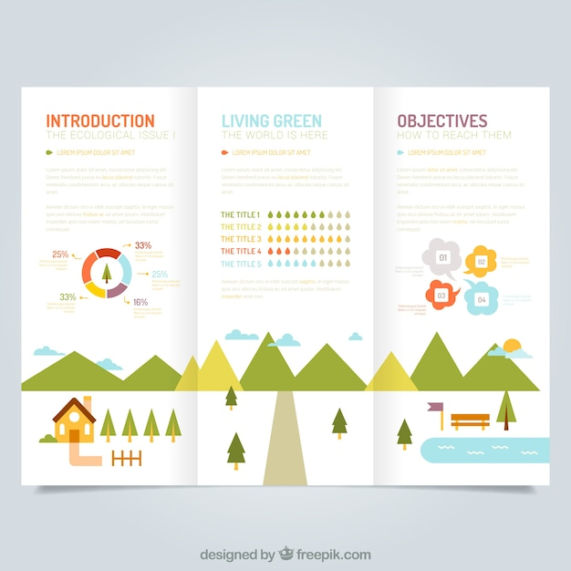 Cute ecological leaflet template Vector Free Download - leaflet template