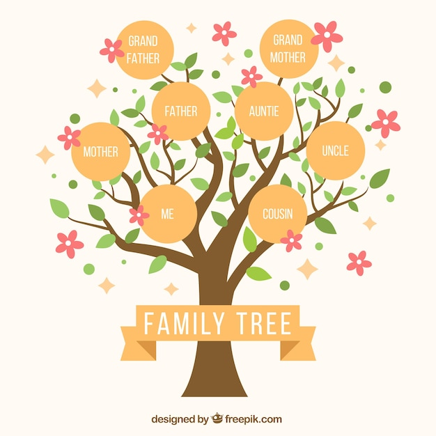 Cute family tree with decorative pink flowers Vector Free Download