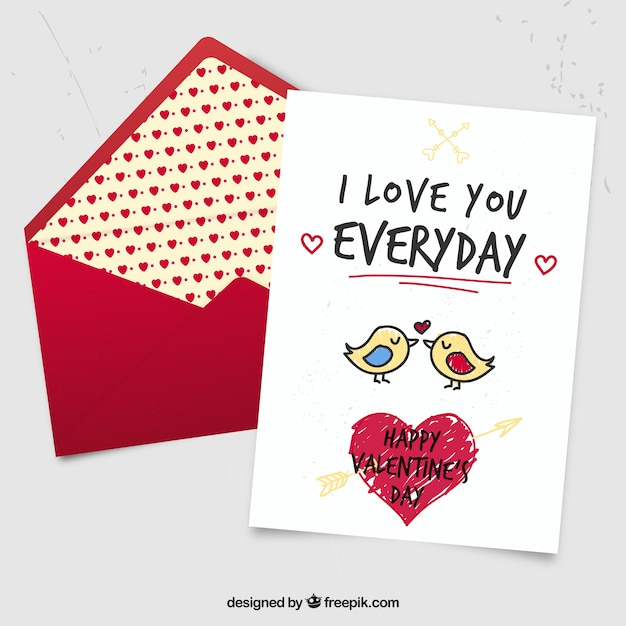 Cute hand drawn birds valentine card Vector Free Download