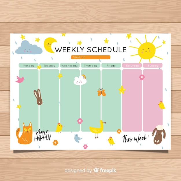 Cute hand drawn weekly schedule template Vector Free Download