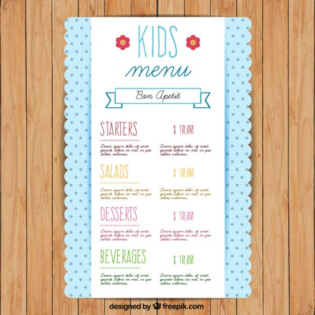 Cute kids menu template with dots Vector Premium Download