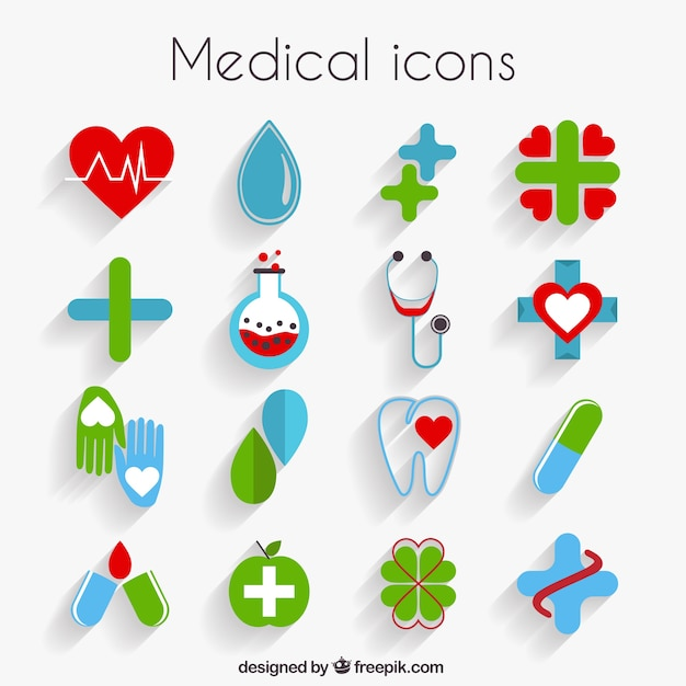 Cute medical icons in flat design Vector Free Download