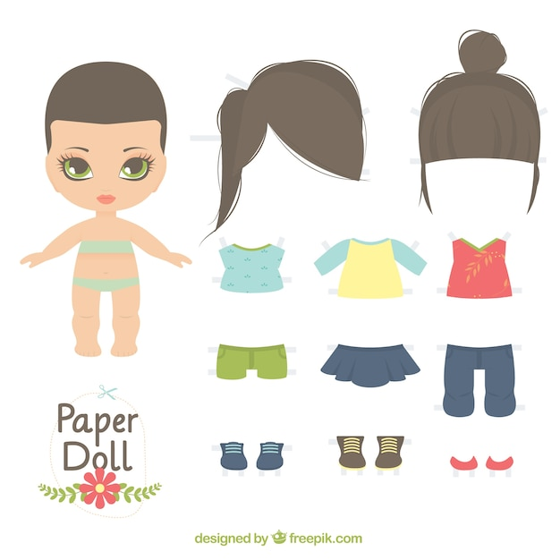Cute paper doll Vector Free Download