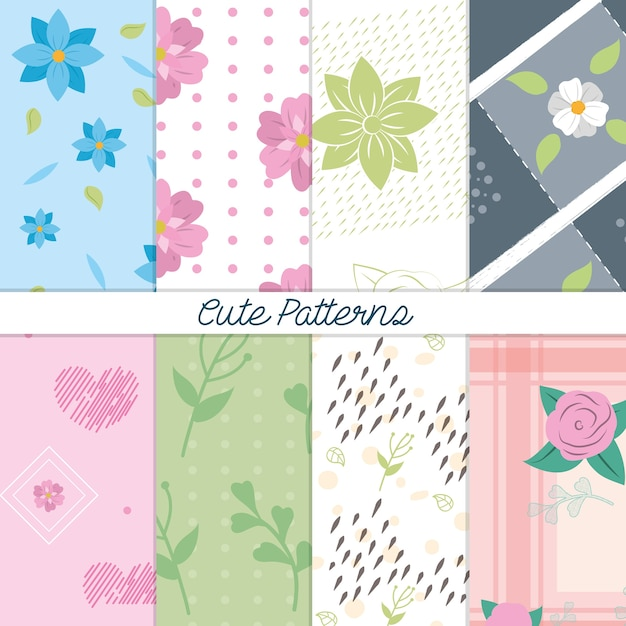 Cute patterns backgrounds vector illustration graphic design Vector