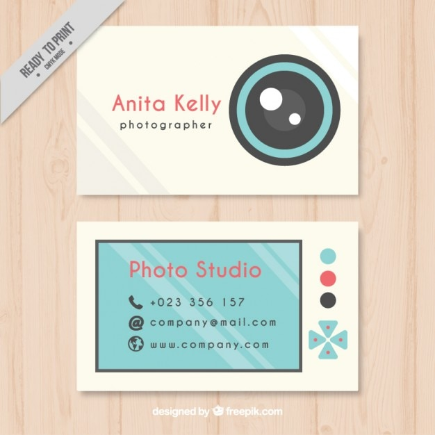 Cute photography business card, flat style Vector Free Download