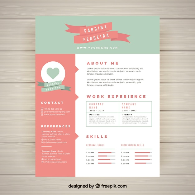 Cute resume template Vector Free Download