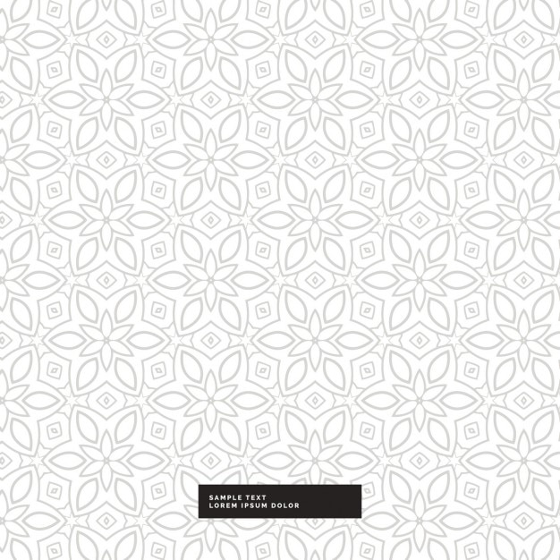 Cute silver floral pattern on a white background Vector Free Download
