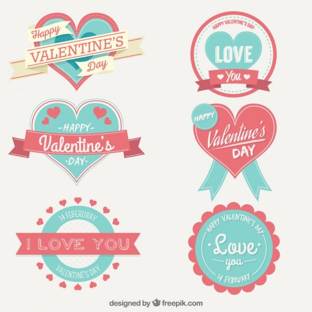 Cute valentine day labels collection Vector Free Download
