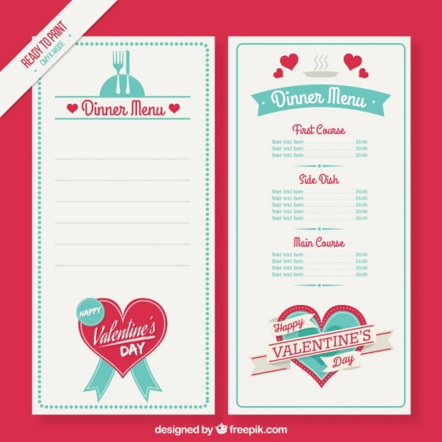 Cute valentine day menu template Vector Free Download - valentines day menu template