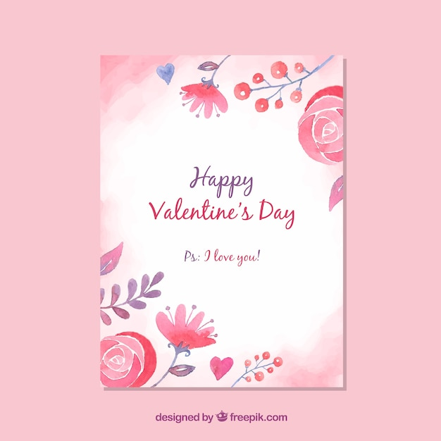 Cute valentines day card template Vector Free Download