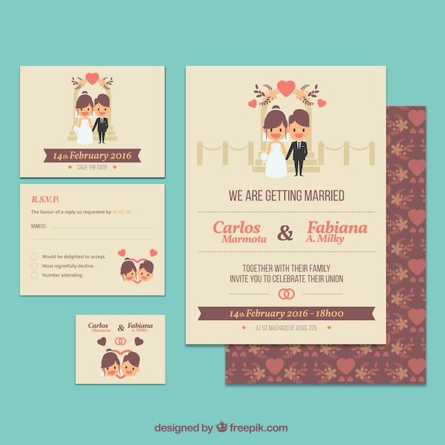 Cute wedding invitation template Vector Free Download - free downloadable wedding invitation templates