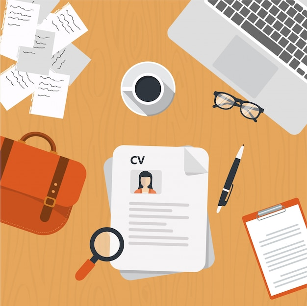 Cv papers on desk Vector Free Download