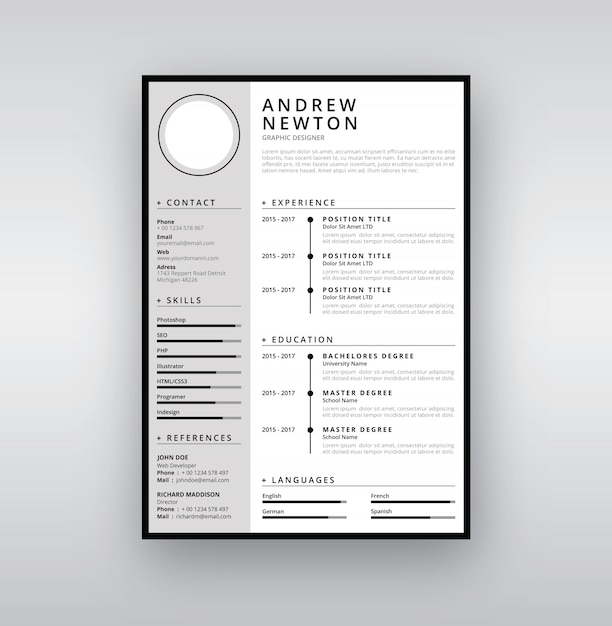 template cv flat design