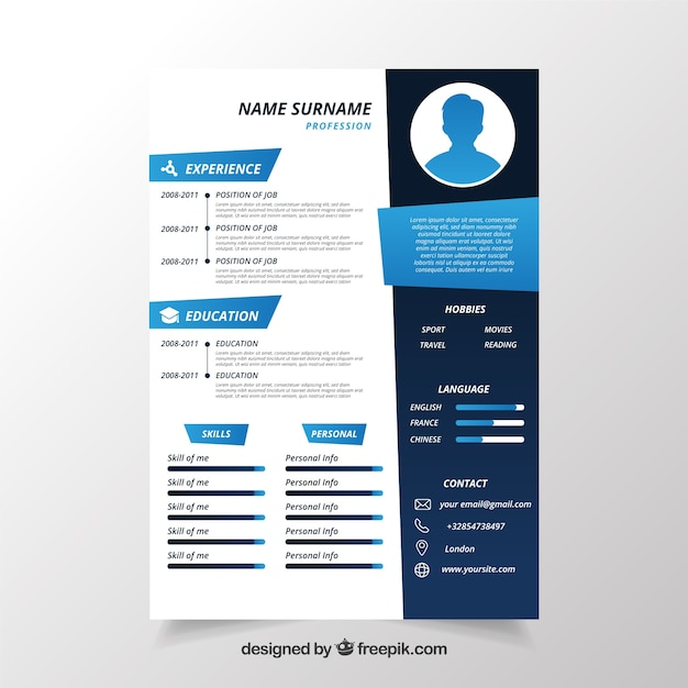 Cv template in blue Vector Free Download - cv