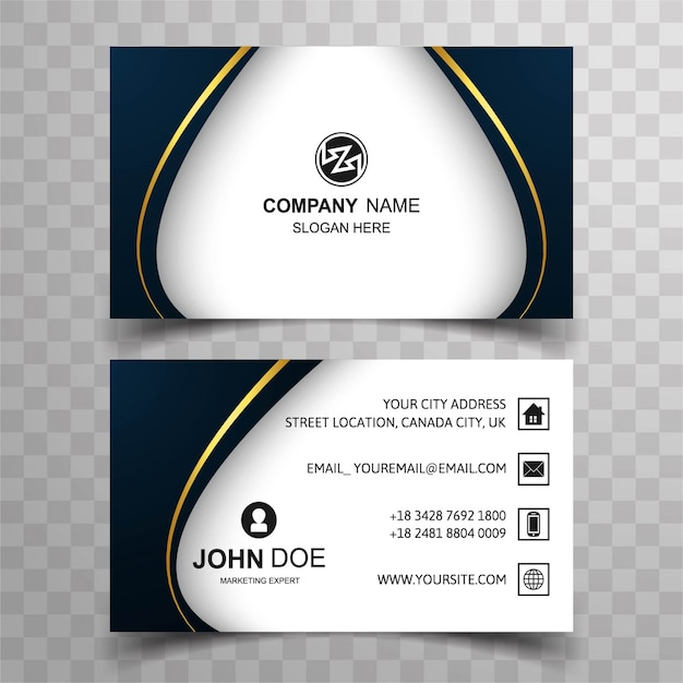 Dark wavy visiting card design Vector Free Download
