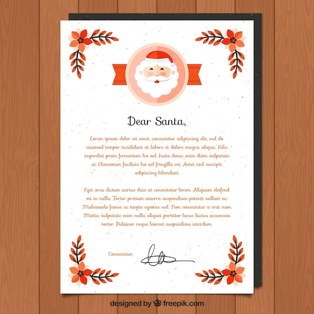Dear santa letter template for christmas Vector Free Download