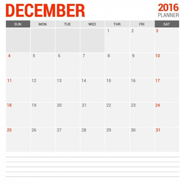 December Monthly Calendar 2016 Vector Free Download - december monthly calender