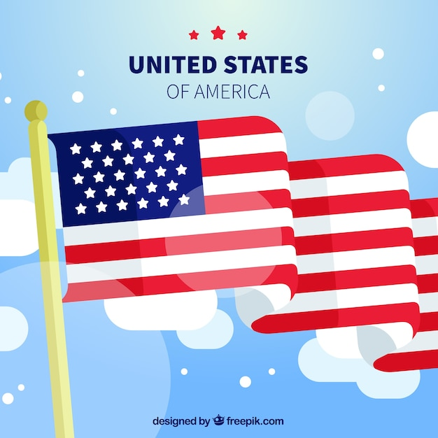 Decorative background with american flag and clouds Vector Free - America Flag Background