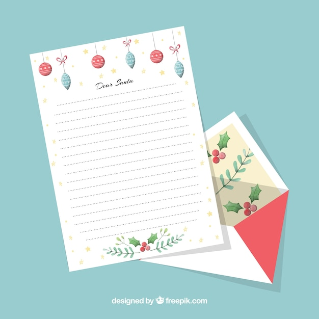 Decorative christmas letter template Vector Free Download