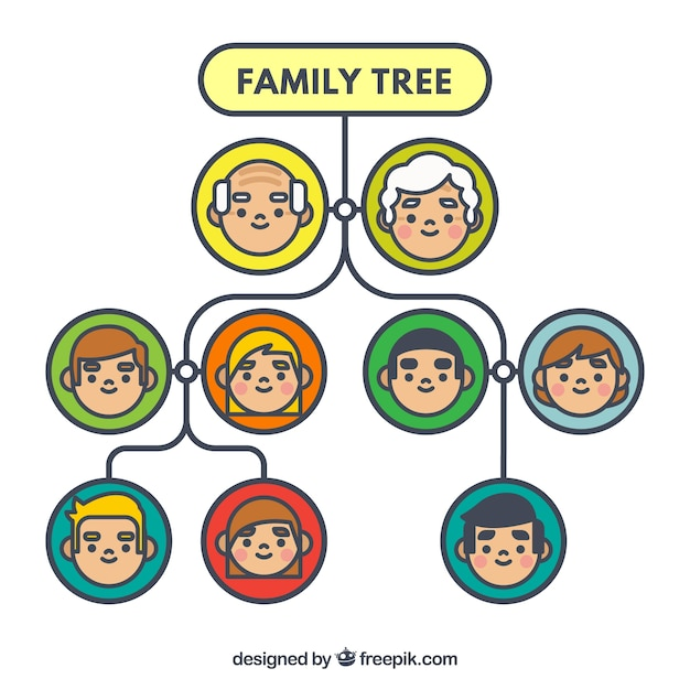 Decorative family tree with circles in different colors Stock